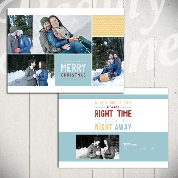 Holiday Card Template: Jingle Bell Rock A - Christmas Card 5x7 Template