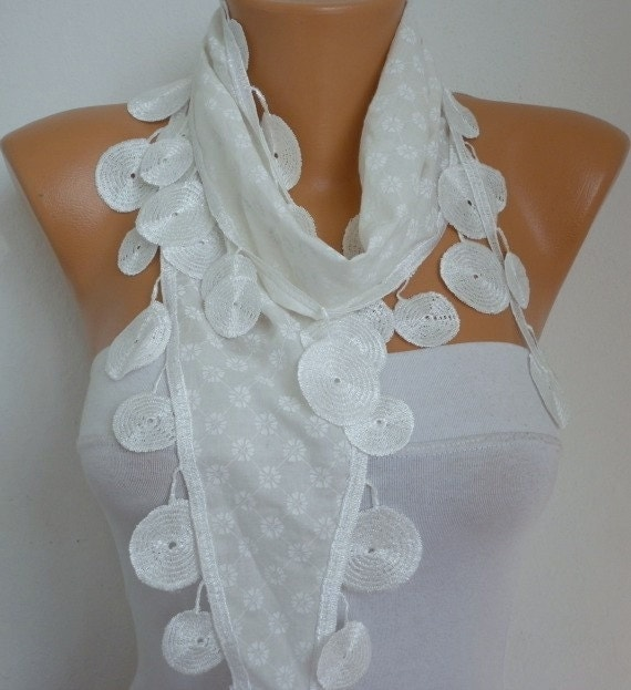ON SALE - Creamy White Scarf Cotton Scarf ,  Cotton Shawl  Cowl Scarf lace scarf - white - fatwoman - Bridesmaids Gifts