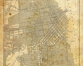 San Francisco Map - Street Map Vintage Sepia Grunge Print Poster