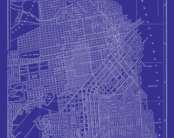 San Francisco Map - Street Map Vintage Blueprint Print Poster
