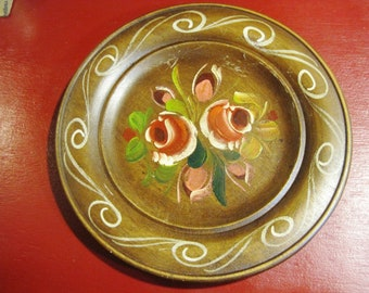 European Folk Art Tole Hand-Painted Wooden Decorative Plate