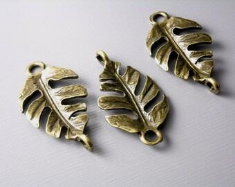 CHARM-AB-LF-27MMx14MM - Antique Bronze Leaf Connectors - 6 pcs