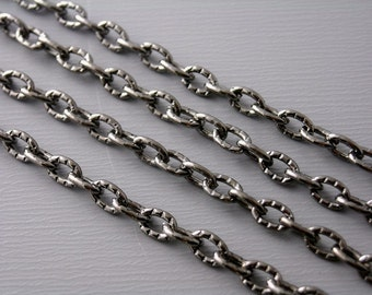 CHAIN-GMTL-4MMx3MM - 10-Foot 4mm x 3mm Textured Gunmetal Plated Chain