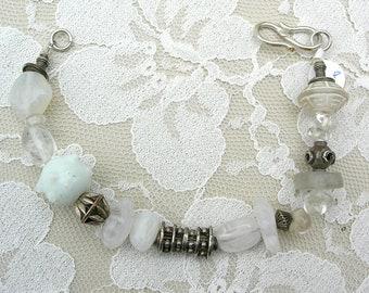 SUMMER SALE Unusual White & Silver Bracelet, great for summer, redesigned vintage bracelet, handmade by me