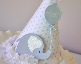 Boy's Little Elephant Birthday Hat, Special Occasion, Photo Prop