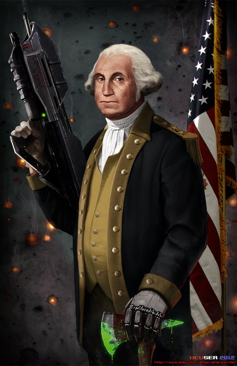 GEORGE WASHINGTON BEFORE THE BATTLE OF TRENTON PAINTING BY