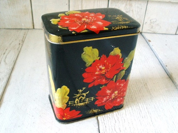 Vintage biscuit tin hinged box small black floral