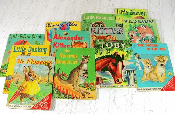 Set of 12 Childrens Books - Vintage Rand McNally Junior Elf Stories - Shabby Chic Nursery Decor