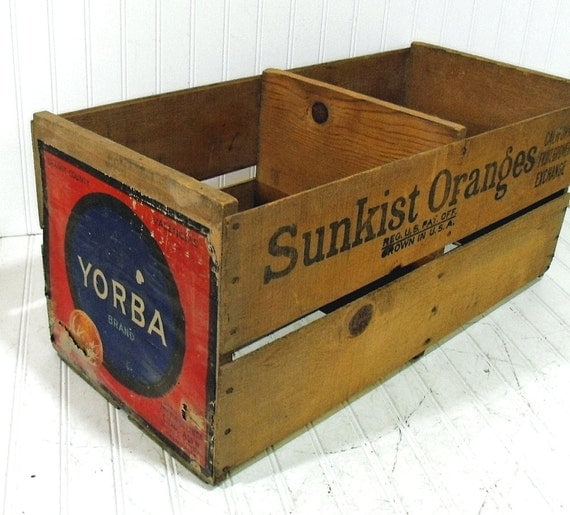 Vintage Sunkist Oranges Large Double Crate - Wooden Bin with Original Yorba Label - Marked on 3 Sides