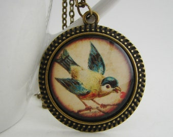 Blue Bird Antiqued Pendant with Free Necklace