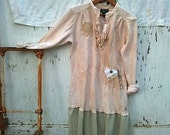 CUSTOM for Justina Woodland hand dyed ecru upcycled autumn shabby tunic dress