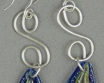 """Teardrop Shaped Dychroic Glass Bead (25mm x 15mm), Sterling Silver Wire, - Earrings - 3"""""""