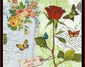 4 Shabby Chic Vintage Style Paper Napkins -  Use For Decoupage, Mixed Media, Scrapbooking, Collage And Altered Art Projects