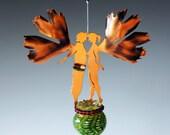 Spring Green- Wedding Favor Gingko Couple Copper Fairies - Your choice of bottle color