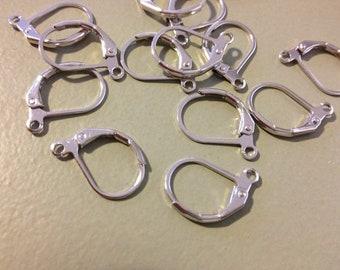100 x Silver Leverback Earwire Earrings 10x15mm