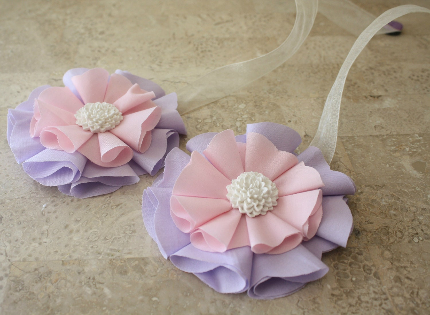 Pink Purple Magnetic Tie Backs Fabric Flowers By