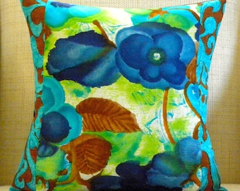 16 x 16 Pillow Cover - Vintage Mod Watercolor Pansies Patchwork - Turquoise, Navy, Chartreuse, Rust & Chocolate