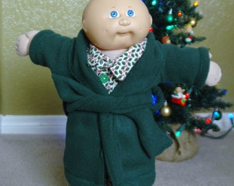 Cabbage Patch Christmas Pajamas  - For 16 -17 inch Boy Dolls - With Robe and Cabbage Patch Head Slippers