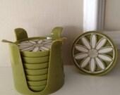 Vintage Daisy Coasters by Crown Plastics Hialeah FL Avocado Greens 1970's