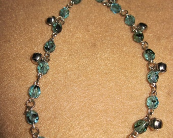 Springtime Jingle Bell Anklet w/ Czech Faceted Cut Beads..Blue & Black Shadow...1 of a kind....1382h