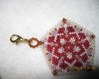Peyote Stitched Snowflake Pentagon Zipper Pull or Pendant...1 of a kind...hand made...1396h