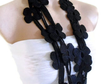 Flower Lariat Scarf,black scarf with crochet flower patterns , hand-made,fashion,unique