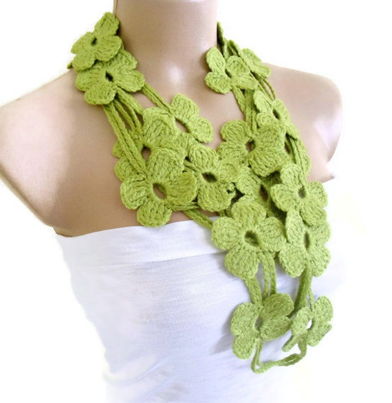 Flower Lariat Scarf Apple green scarf with crochet flower