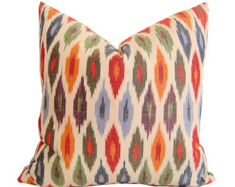 Schumacher Sunara Pillows - Sunara Ikat in Spice - Ikat Decorative Pillows - Sunara Spice - Red Pillows - Throw Pillows - Ikat Throw Pillows