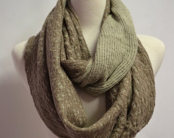 SUPER SALE 24.00 TAUPE Chunky Knitted Double Sided Honeycomb Pattern, Infinity Loop Circle Scarf Snood Cowl Womens Knit Scarves