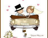 Clipart Just Married Car, Bride and Groom Clipart, Digital Graphics Wedding Car, Wedding Invitation Graphics, Digital Scrapbook Papers