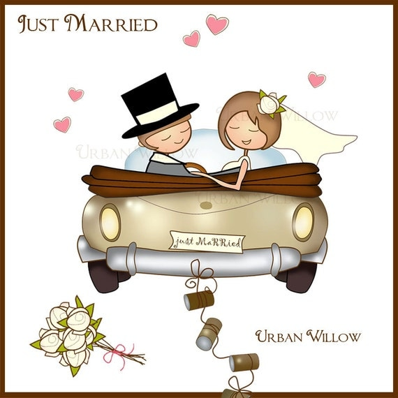 just married clipart auto braut und br utigam clipart. Black Bedroom Furniture Sets. Home Design Ideas