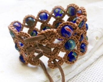 Bohemian Crochet Cuff Bracelet, Cobalt Blue Millefiori beads - adjustable