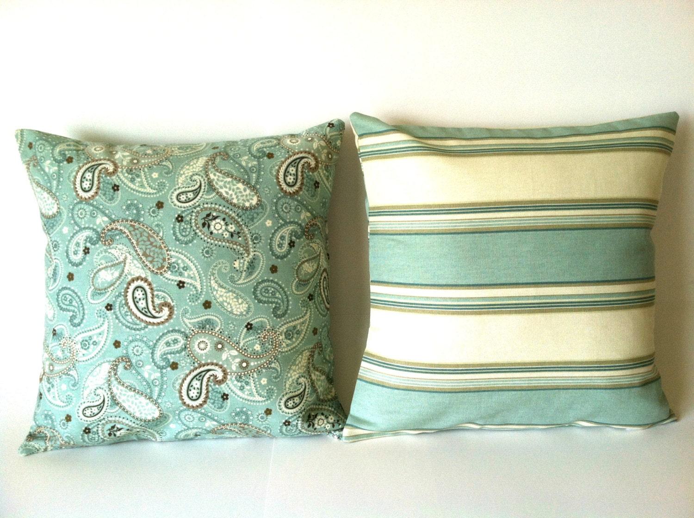 Modern Pillow Covers : Aqua Throw Pillow Covers Set of Two Modern Elegant by mizzeztee