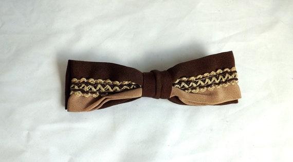 Cocoa Bow Tie / vintage Cocoa Browen Retro Clip On Bow Tie