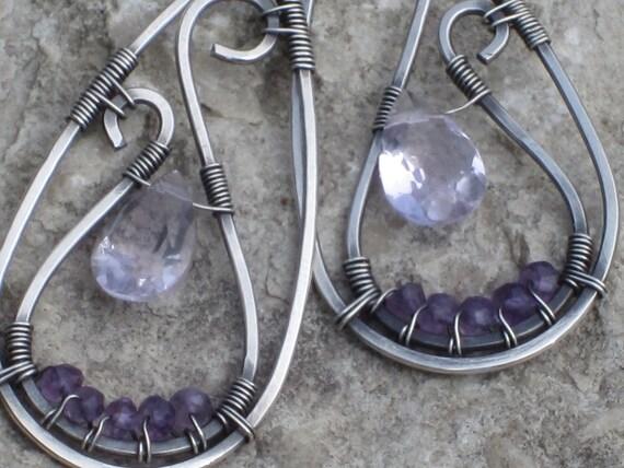 Wire Wrapped Amethyst Earrings SALE 20% OFF