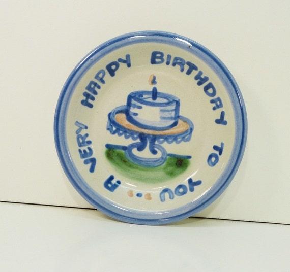 Birthday Stoneware Cake Plate