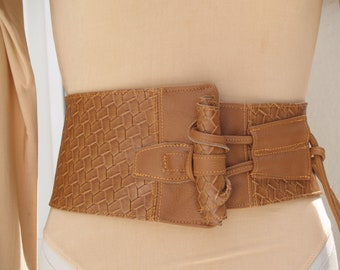 Vegan Woven Print Toffee Caramel Corset Belt with Vegan/Leather Toggle and Tie