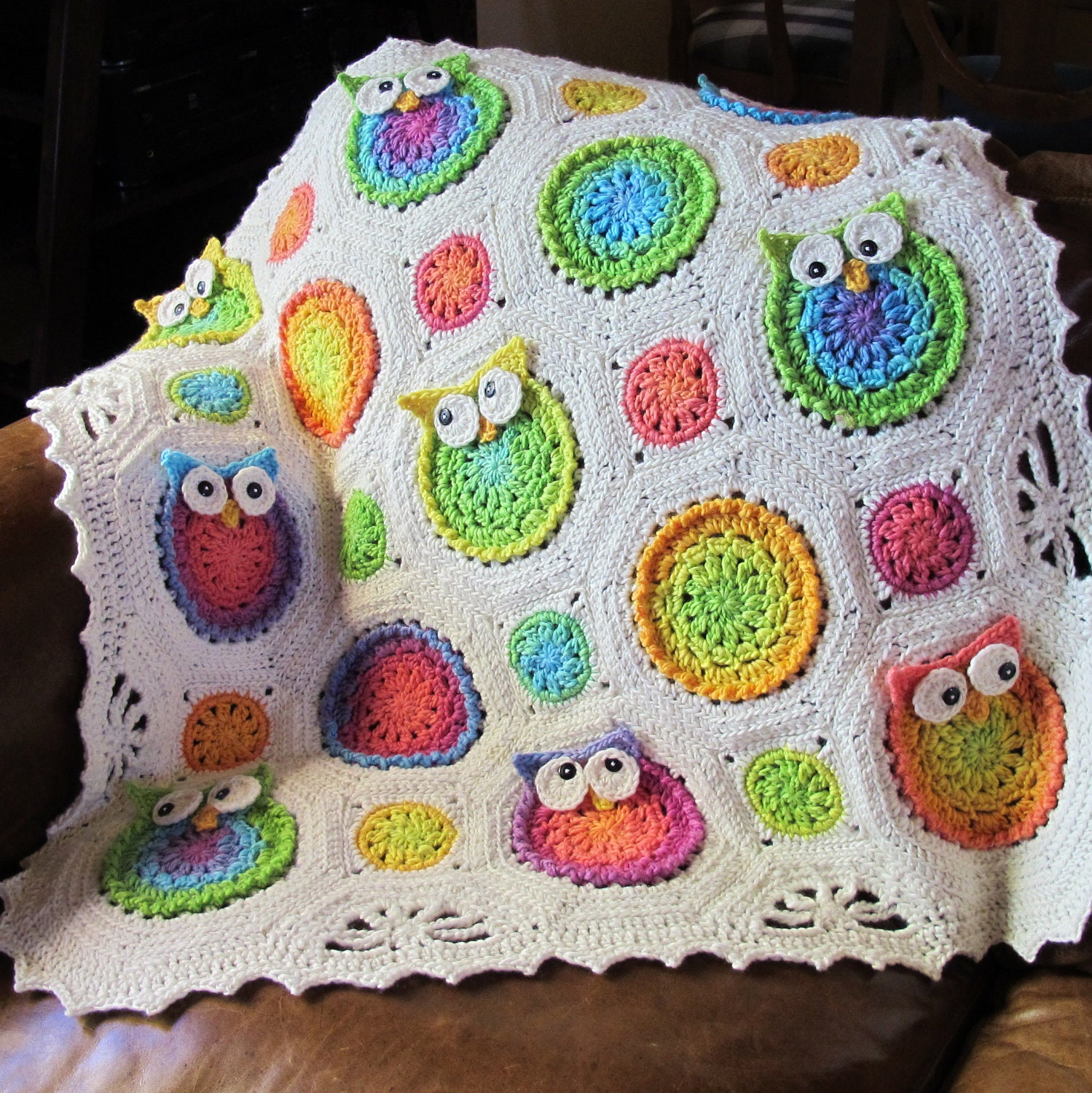 Crochet Owl Blanket : CROCHET PATTERN Owl Obsession a colorful owl by TheHatandI