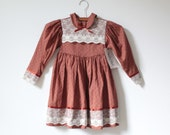 Vintage Rust Brown NEW OLD STOCK Lace Dress (5t) - littlereadervintage