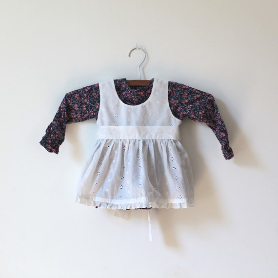 Vintage 2-Piece Eyelet Pinafore and Floral Dress Set (9 months)