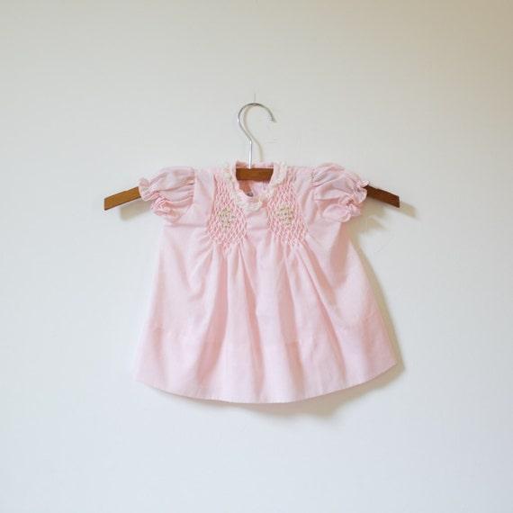 Vintage Polly Flinders Pink Smocked Dress (0-3 months)