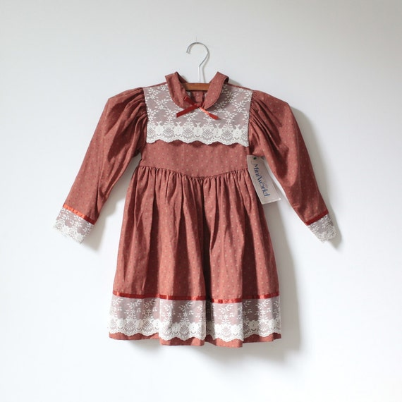 Vintage Rust Brown NEW OLD STOCK Lace Dress (5t)