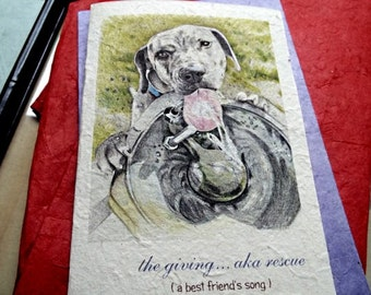 the giving ... aka rescue /mutt dog/dog at park/personalize/ storybook/sentimental /unique empathy condolence/pet sympathy/pet cards