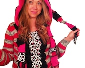 Funky Hot Pink and Leopard Elf Hoodie with Scrappy scarf  by Hope Floats Upcycled