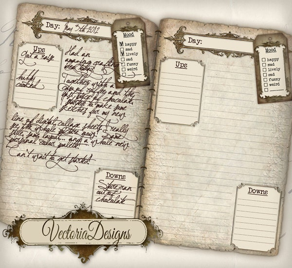 Printable Diary Pages Journal Pages Vintage Old Tattered – Diary Paper Printable