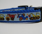 Dog Collar- Trucks and Planes- Blue