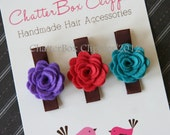 Baby Hair Clips Baby Barrettes Toddler Hair Clips Petite Rosebuds in Strawberry, Turquoise and Purple Wool Felt