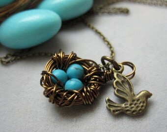 Antique Bronze Bird and a Nest filled with Turquoise Eggs Necklace, E-052