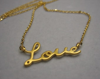 love necklace, gold love necklace, simple jewelry, Love,