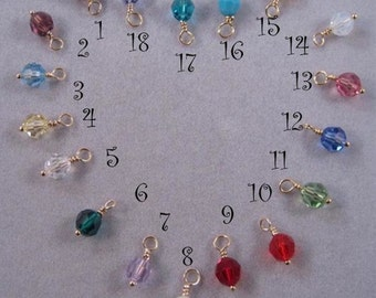 6mm, ADD ON Birth Month Crystal Charms, personalize your jewelry, Swarovski Crystal charms